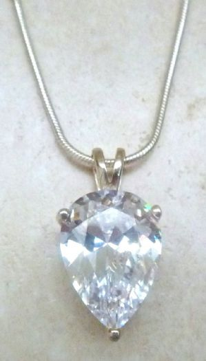 Sterling Silver And Large Crystal Pear Drop Necklace.